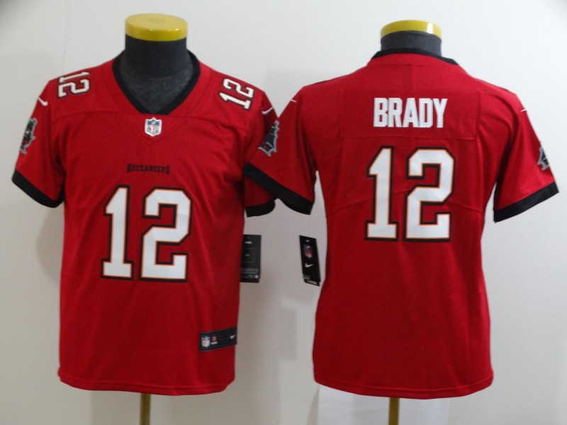 Nike Buccaneers 12 Tom Brady Red Youth New 2020 Vapor Untouchable Limited Jersey