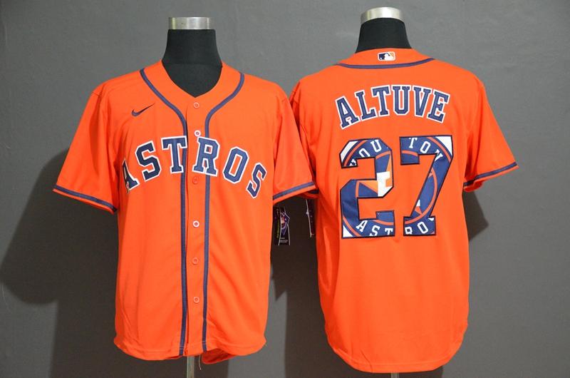 Astros 27 Jose Altuve Orange 2020 Nike Cool Base Fashion Jersey