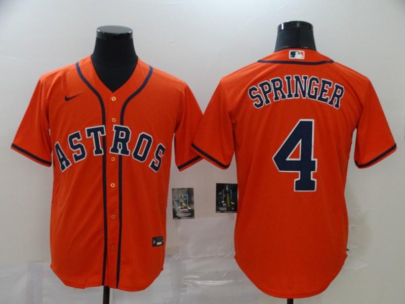 Astros 4 George Springer Orange 2020 Nike Cool Base Jersey