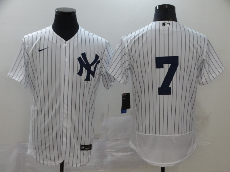 Yankees 7 Mickey Mantle White 2020 Nike Cool Base Jersey