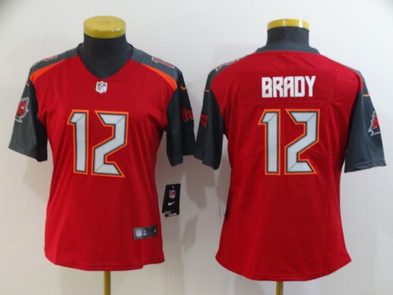Buccaneers 12 Tom Brady Red Women Vapor Untouchable Limited Jersey