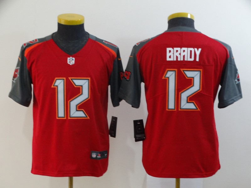 Buccaneers 12 Tom Brady Red Youth Vapor Untouchable Limited Jersey