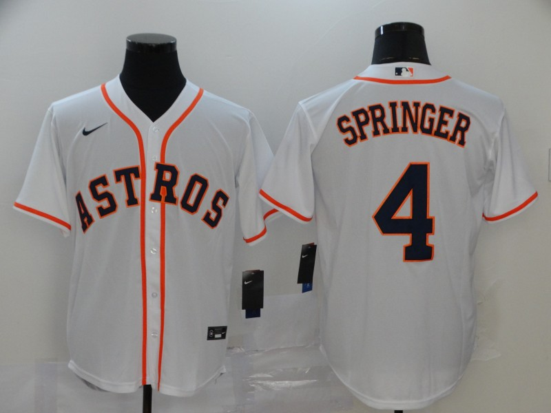 Astros 4 George Springer White 2020 Nike Cool Base Jersey