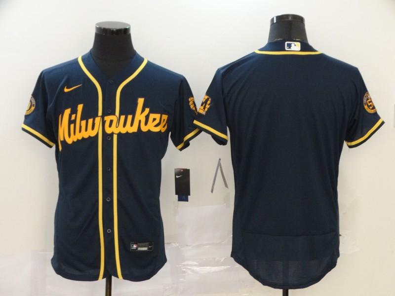 Brewers Blank Navy Nike 2020 Flexbase Jersey