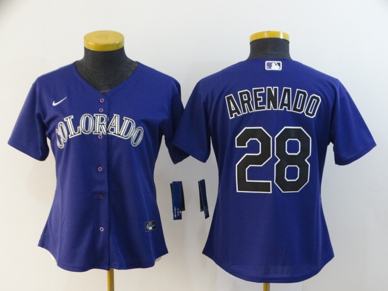Rockies 28 Nolan Arenado Purple Women 2020 Nike Cool Base Jersey