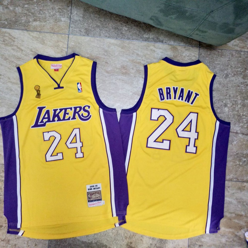 Lakers 24 Kobe Bryant Yellow 2009 NBA Champions Patch Adidas Hardwood Classics Jersey