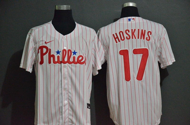 Phillies 17 Rhys Hoskins White 2020 Nike Cool Base Jersey