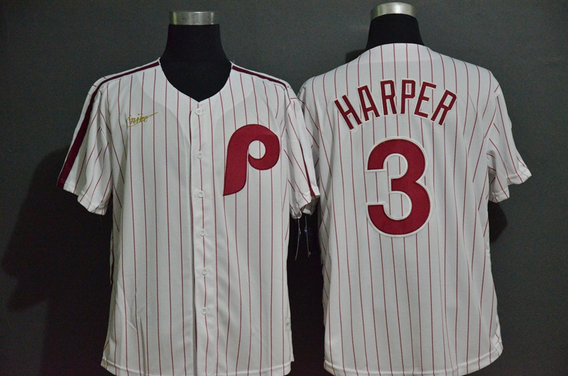 Phillies 3 Bryce Harper White 2020 Nike Throwback Cool Base Jersey