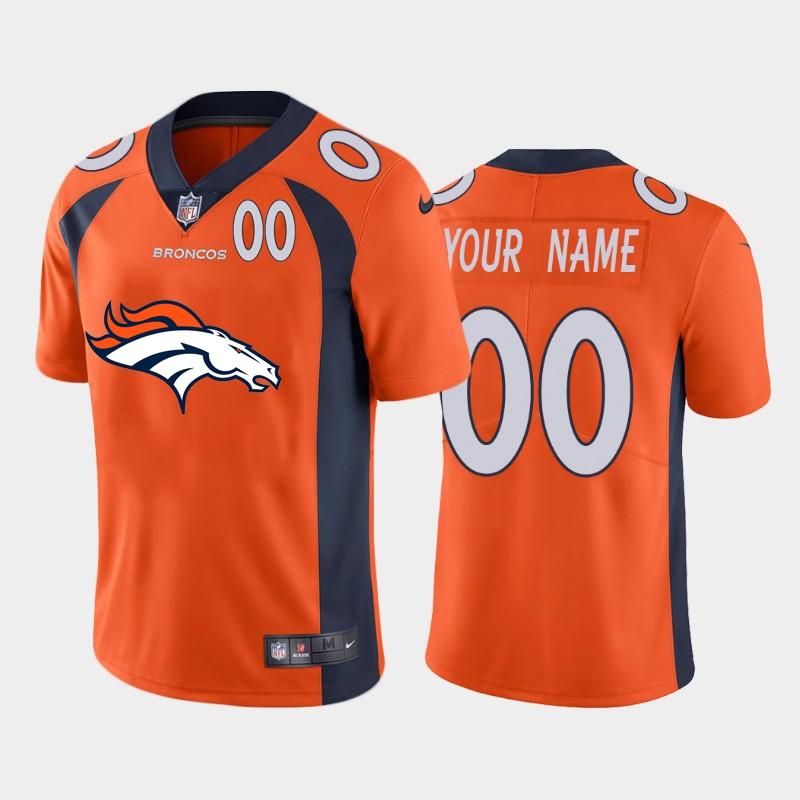 Nike Broncos Customized Orange Team Big Logo Number Vapor Untouchable Limited Jersey
