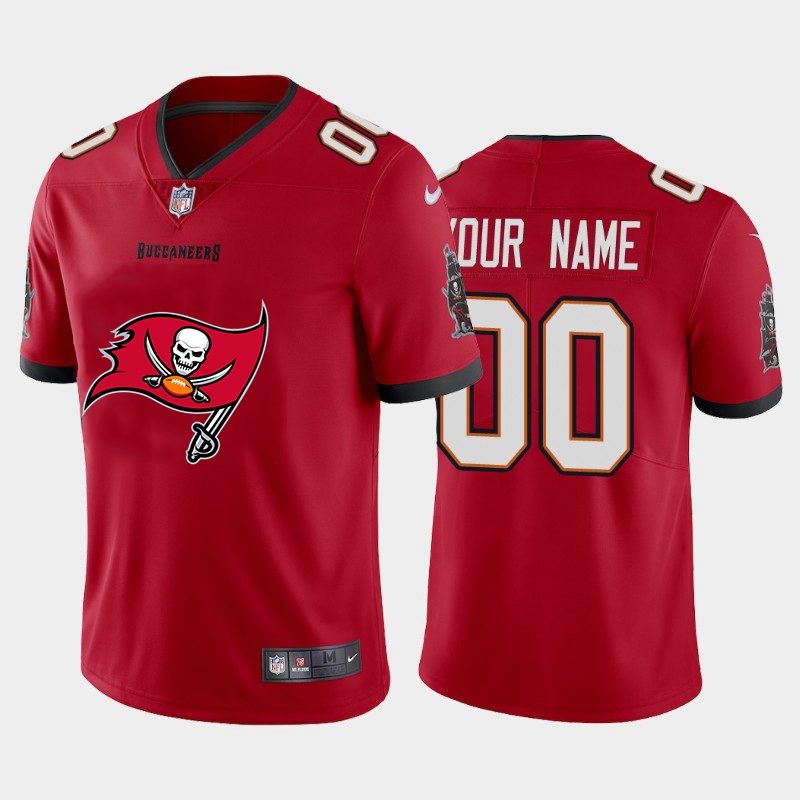 Nike Buccaneers Customized Red Team Big Logo Vapor Untouchable Limited Jersey