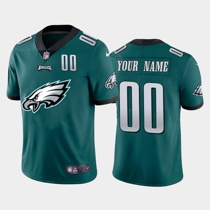 Nike Eagles Customized Green Team Big Logo Number Vapor Untouchable Limited Jersey