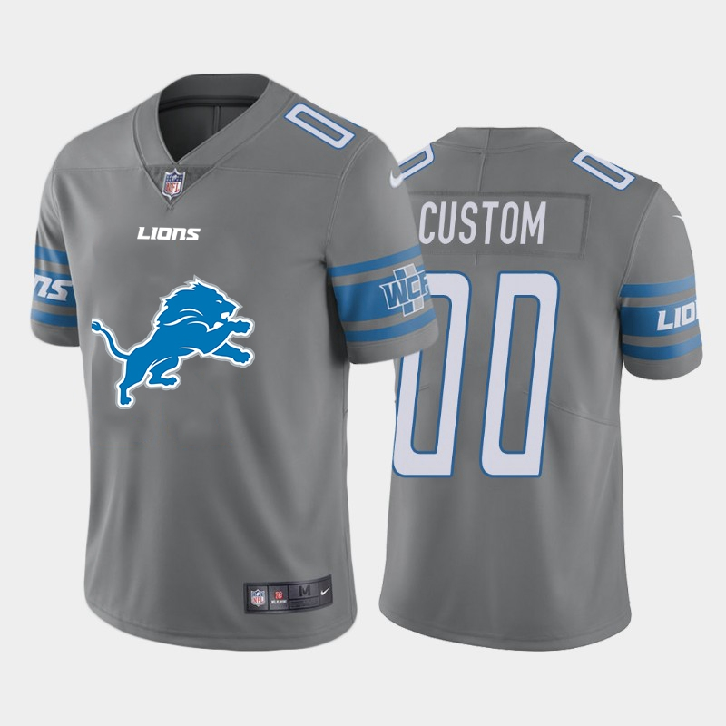 Nike Lions Customized Gray Team Big Logo Vapor Untouchable Limited Jersey
