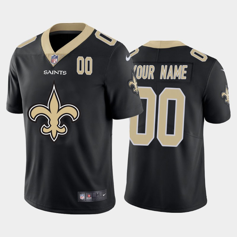 Nike Saints Customized Black Team Big Logo Number Vapor Untouchable Limited Jersey