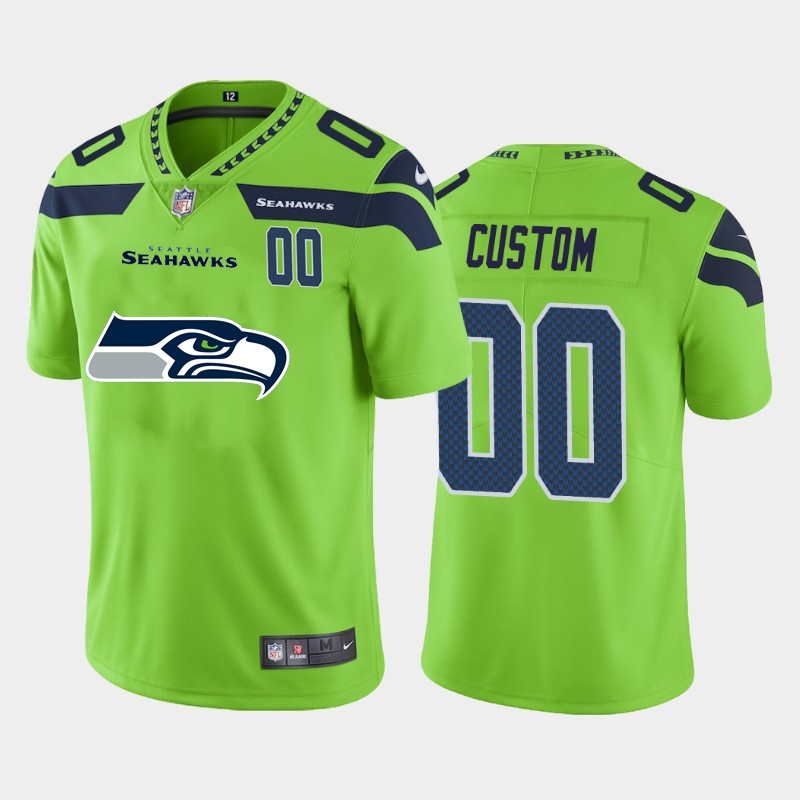 Nike Seahawks Customized Green Team Big Logo Number Vapor Untouchable Limited Jersey