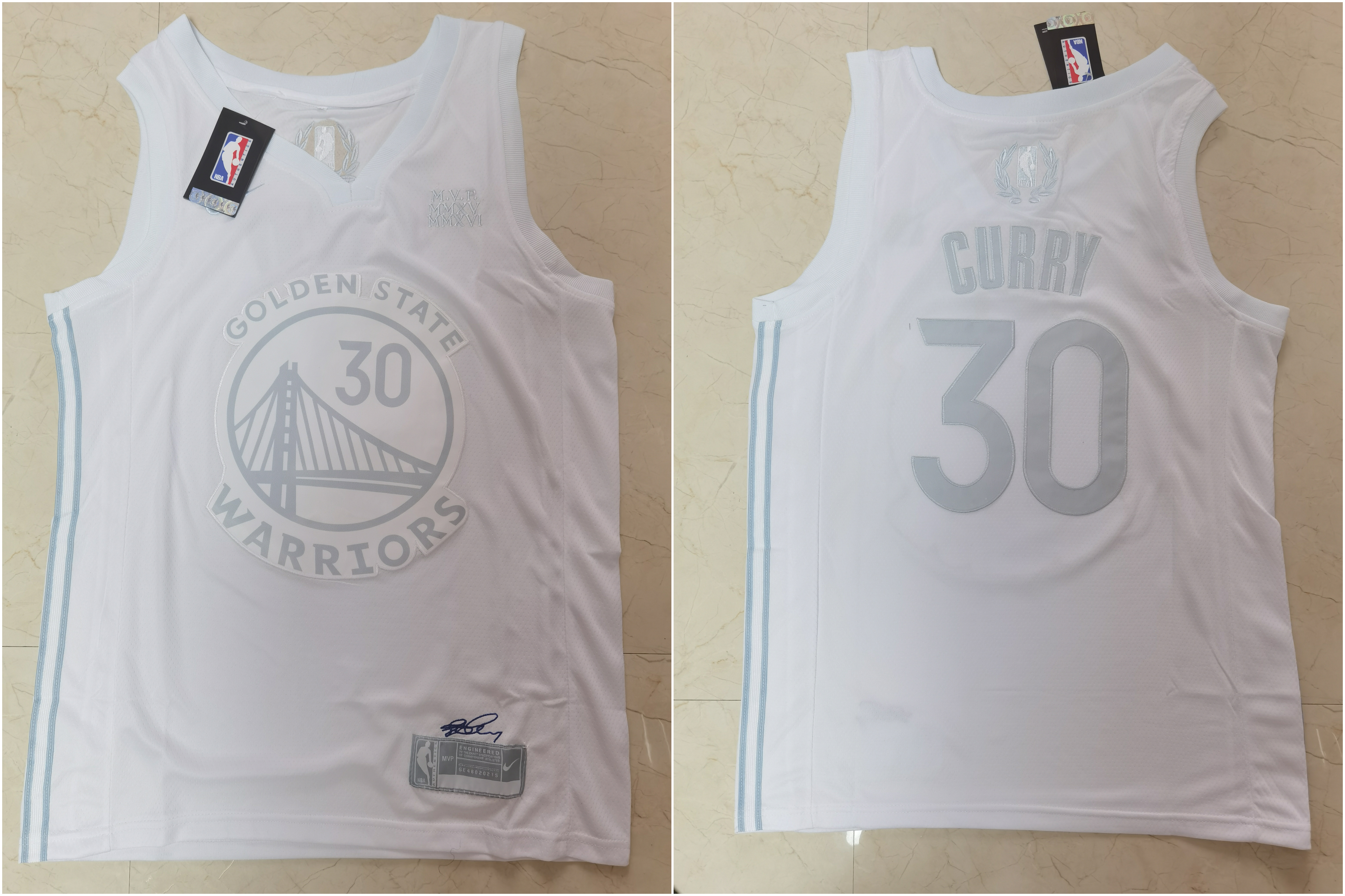 Warriors 30 Stephen Curry White Nike Swingman MVP Jersey
