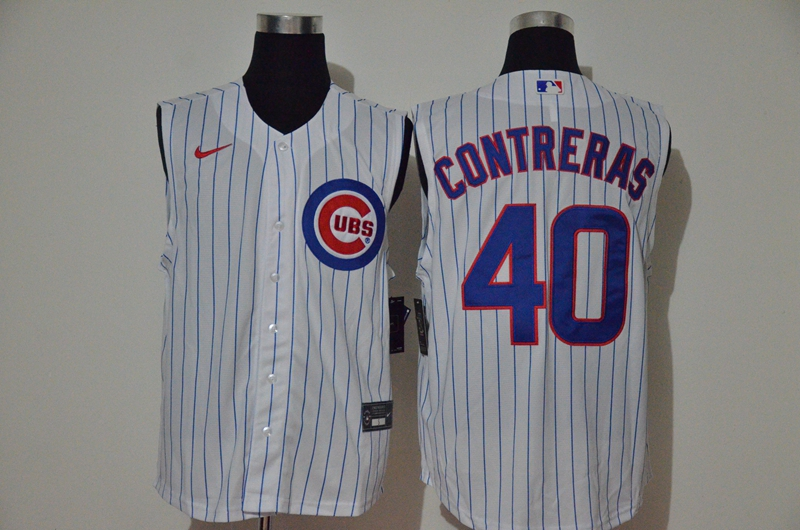 Cubs 40 Willson Contreras White Nike Cool Base Sleeveless Jersey