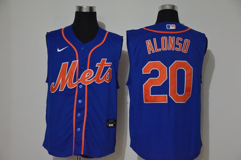 Mets 20 Pete Alonso Royal Nike Cool Base Sleeveless Jersey