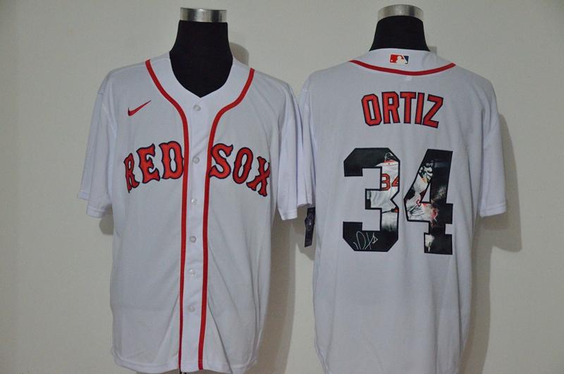 Red Sox 34 David Ortiz White 2020 Nike Cool Base Fashion Jersey