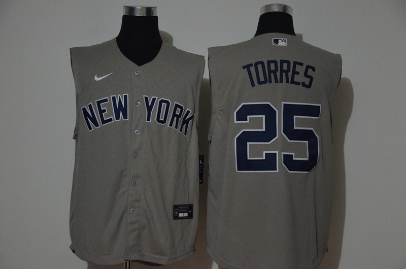 Yankees 25 Gleyber Torres Gray Nike Cool Base Sleeveless Jersey