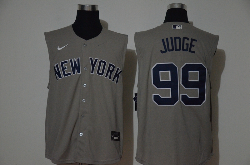 Yankees 99 Aaron Judge Gray Nike Cool Base Sleeveless Jersey