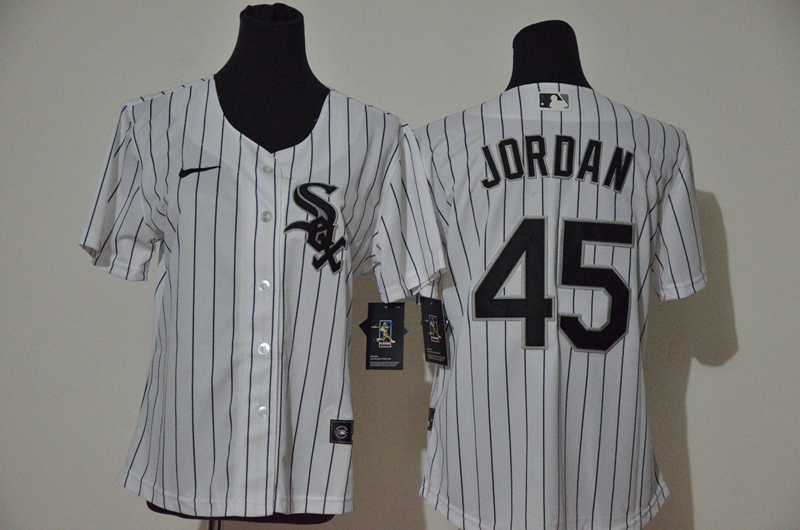 White Sox 45 Michael Jordan White Women 2020 Nike Cool Base Jersey