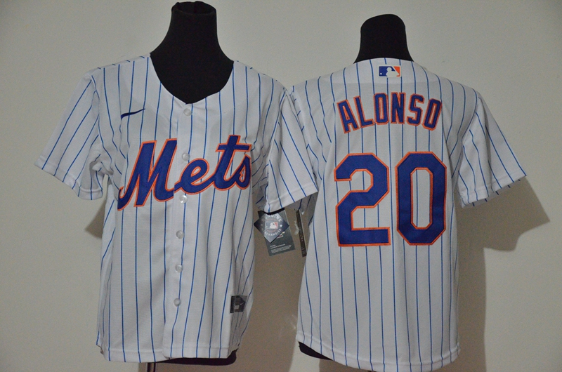 Mets 20 Pete Alonso White Youth Nike Cool Base Jersey
