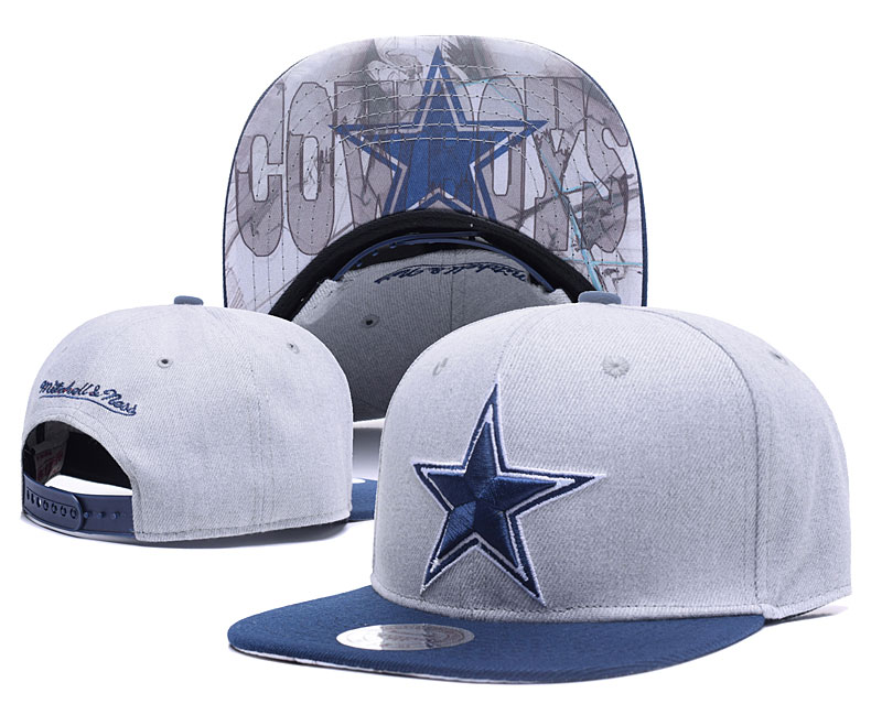 Cowboys Team Logo Gray Mitchell & Ness Adjustable Hat LH.jpeg