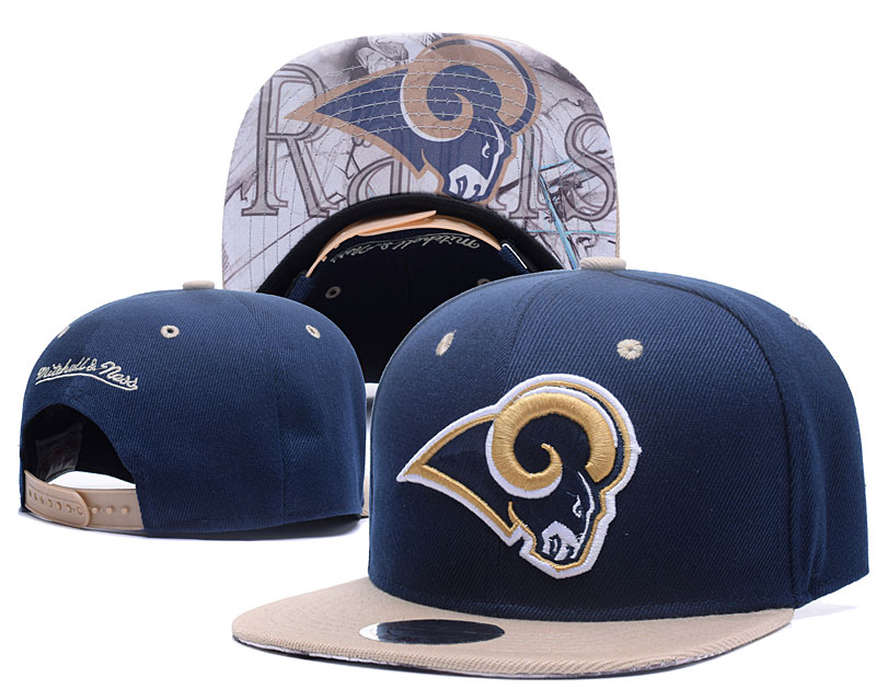 Rams Team Logo Navy Mitchell & Ness Adjustable Hat LH