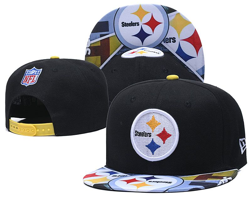 Steelers Team Logo Black Adjustable Hat LH