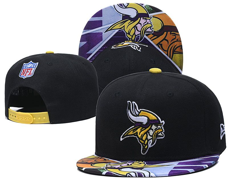 Vikings Team Logo Black Adjustable Hat LH