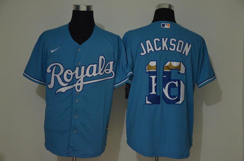 Royals 16 Bo Jackson Light Blue 2020 Nike Cool Base Fashion Jersey