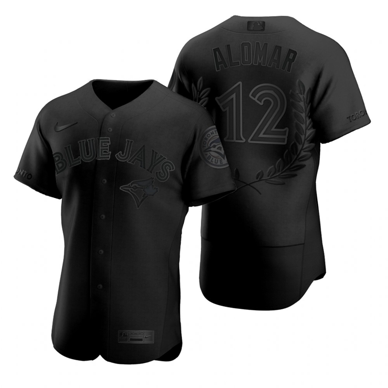 Blue Jays 12 Roberto Alomar Black Nike Flexbase Fashion Jersey