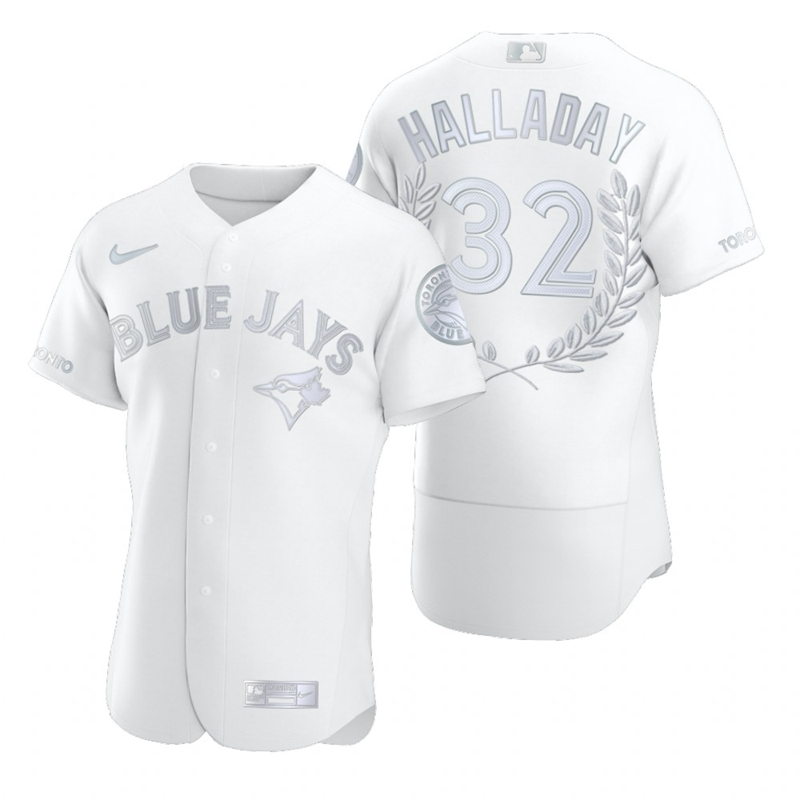 Blue Jays 32 Roy Halladay White Nike Flexbase Fashion Jersey