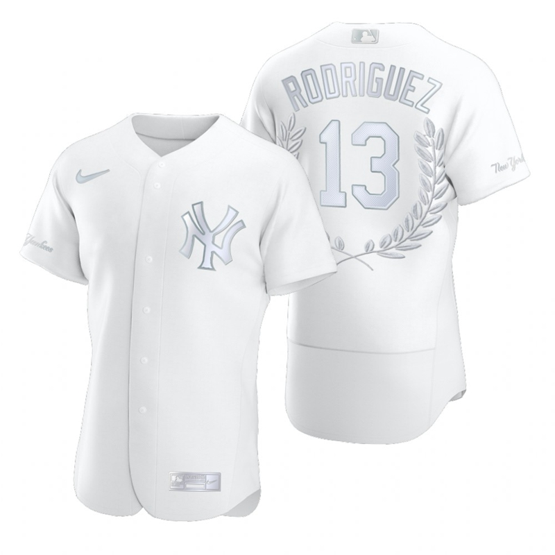 Yankees 13 Alex Rodriguez White Nike Flexbase Fashion Jersey