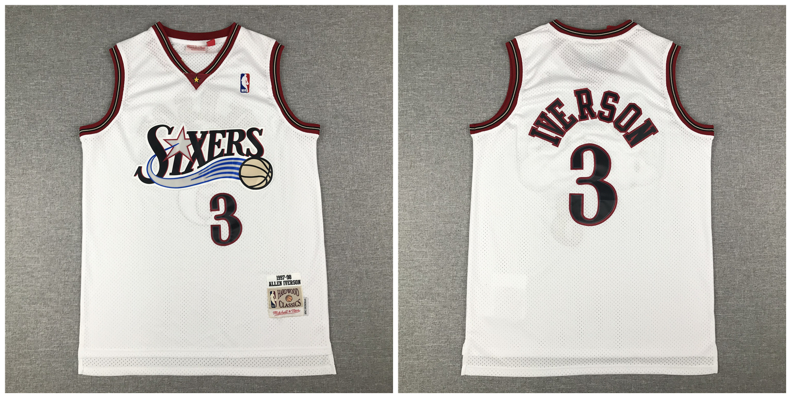 76ers 3 Allen Iverson White 1997-98 Hardwood Classics Mesh Jersey