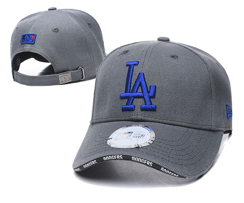 Dodgers Team Logo Gray Peaked Adjustable Hat TX