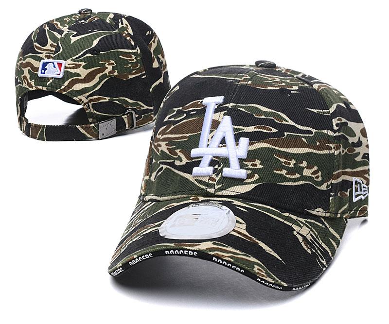 Dodgers Team Logo Olive Peaked Adjustable Hat TX