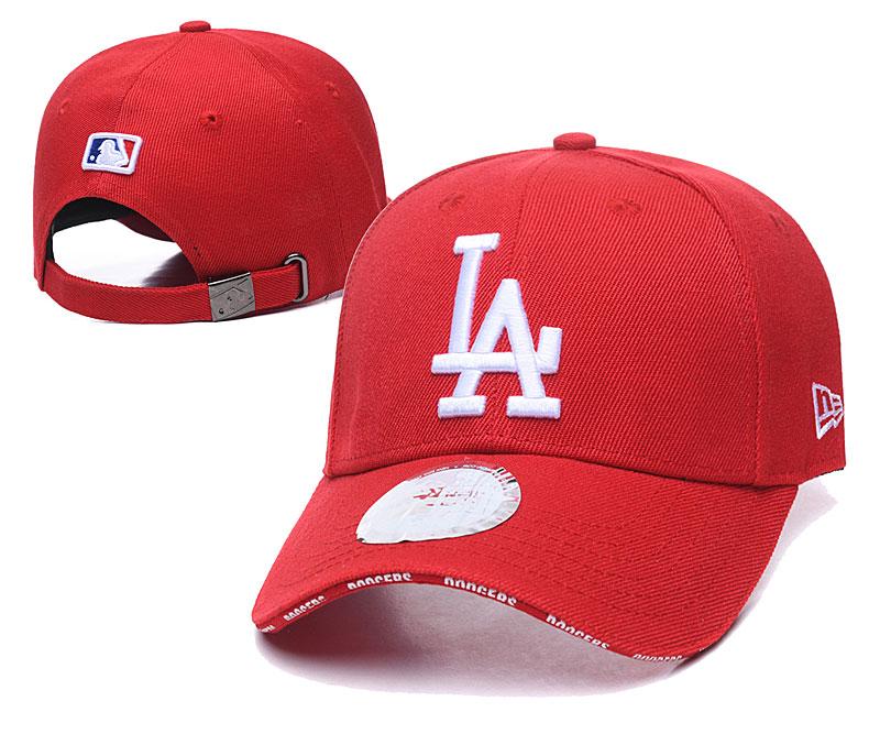 Dodgers Team Logo Red Peaked Adjustable Hat TX