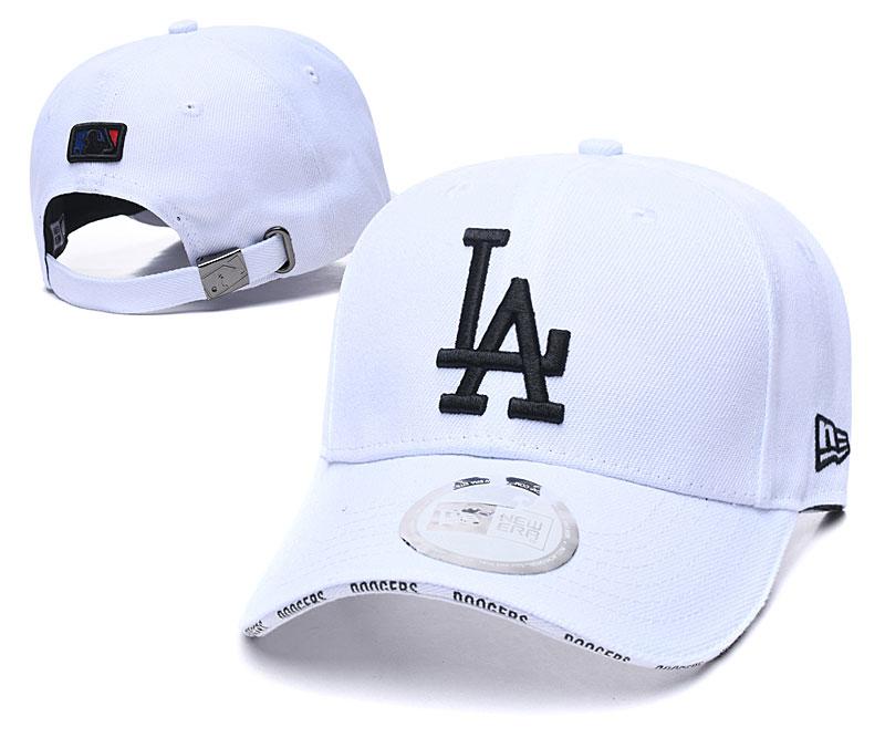 Dodgers Team Logo White Peaked Adjustable Hat TX