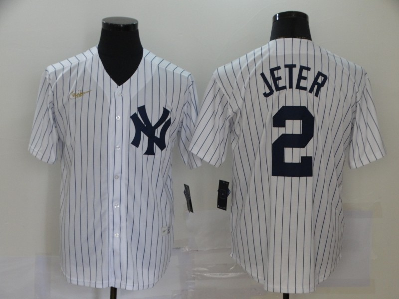 Yankees 2 Derek Jeter White Nike Cool Base Jersey