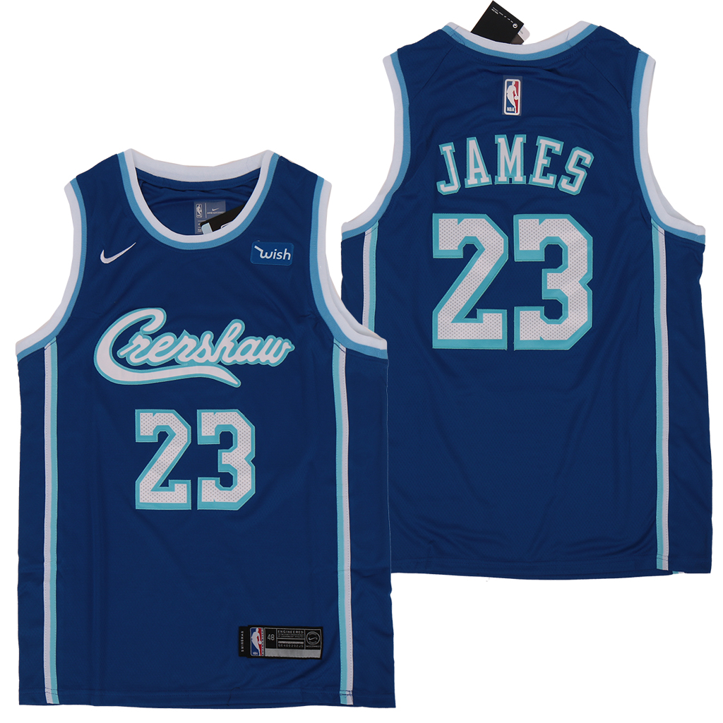 Lakers 23 Lebron James Blue Nike City Edition Swingman Jersey
