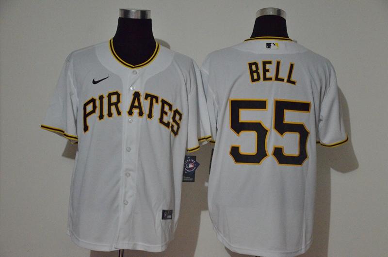 Pirates 55 Josh Bell White 2020 Nike Cool Base Jersey