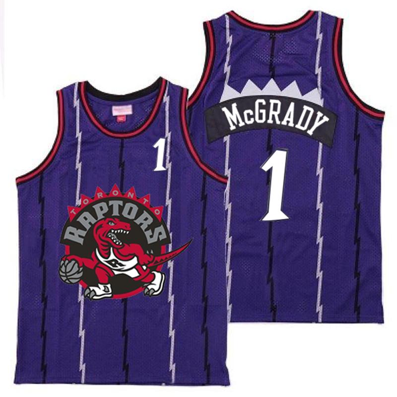 Raptors 1 Tracy McGrady Purple Big Gray Red Logo Retro Jersey