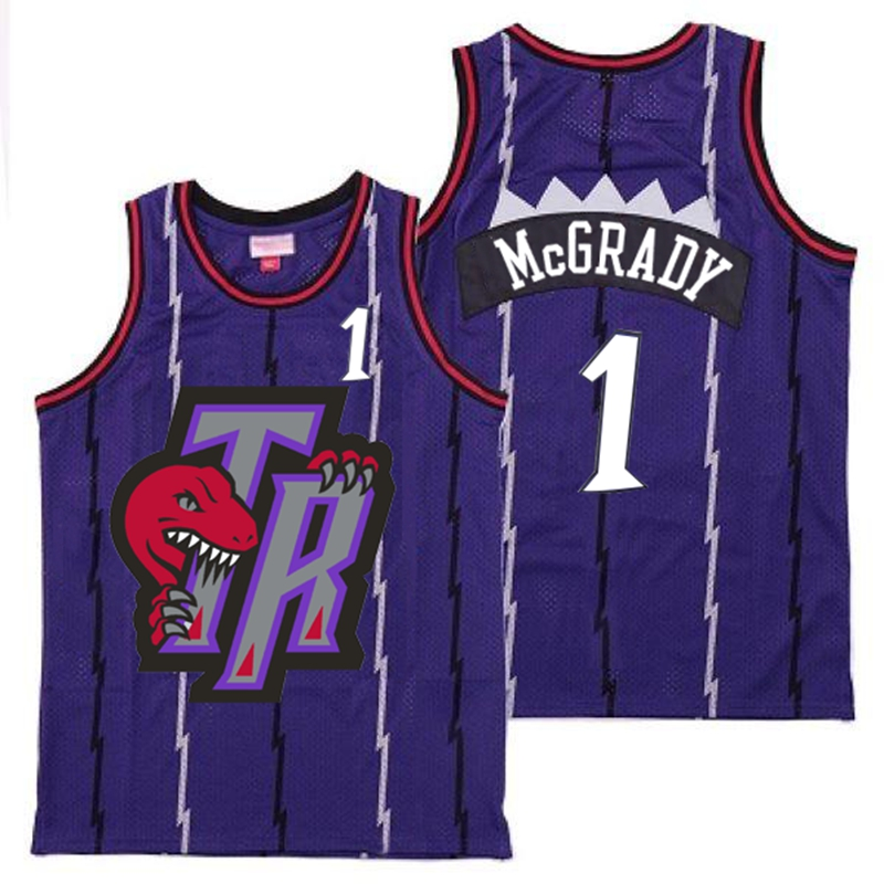 Raptors 1 Tracy McGrady Purple Big Gray TR Logo Retro Jersey