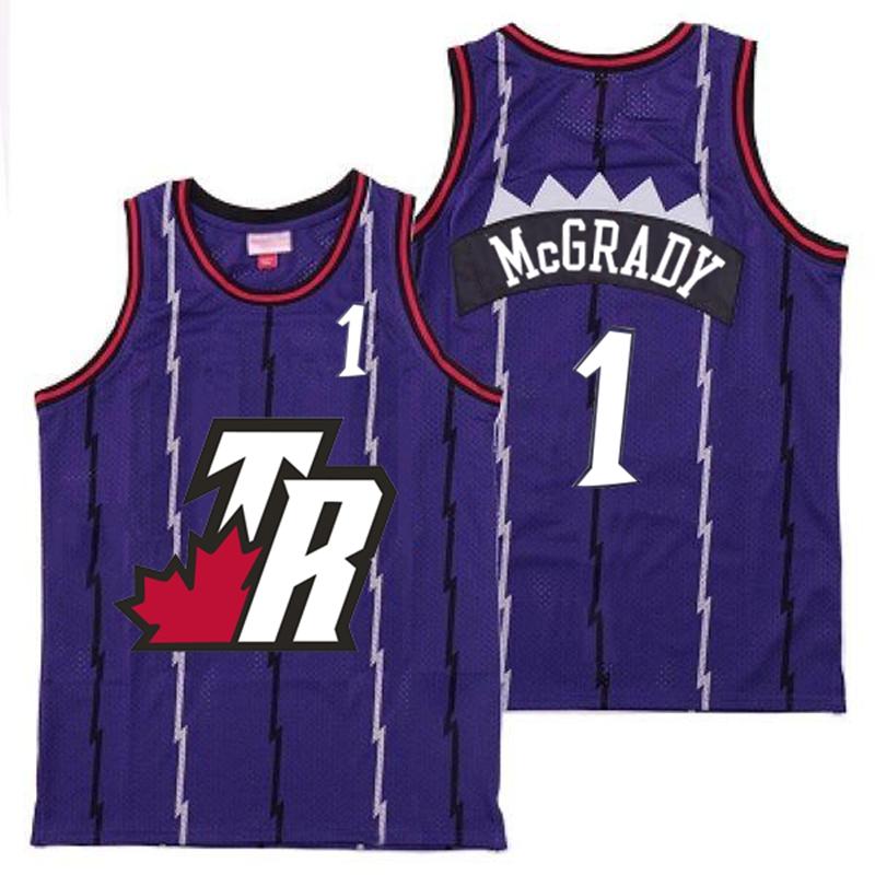 Raptors 1 Tracy McGrady Purple Big White TR Logo Retro Jersey