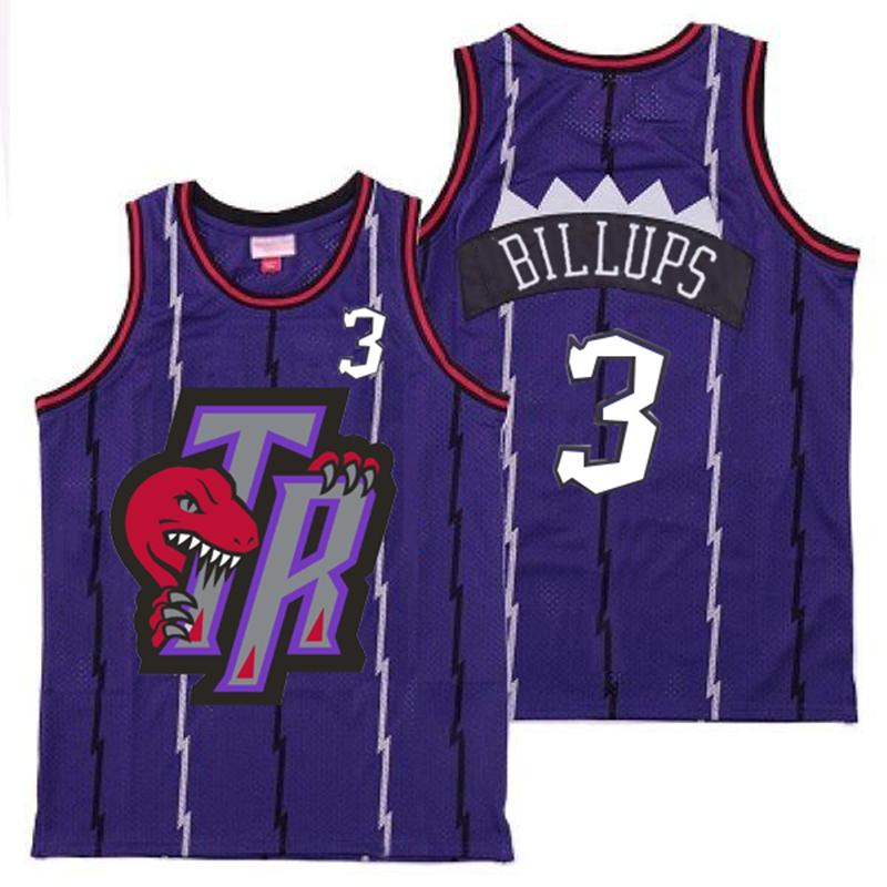 Raptors 3 Chauncey Billups Purple Big Gray TR Logo Retro Jersey