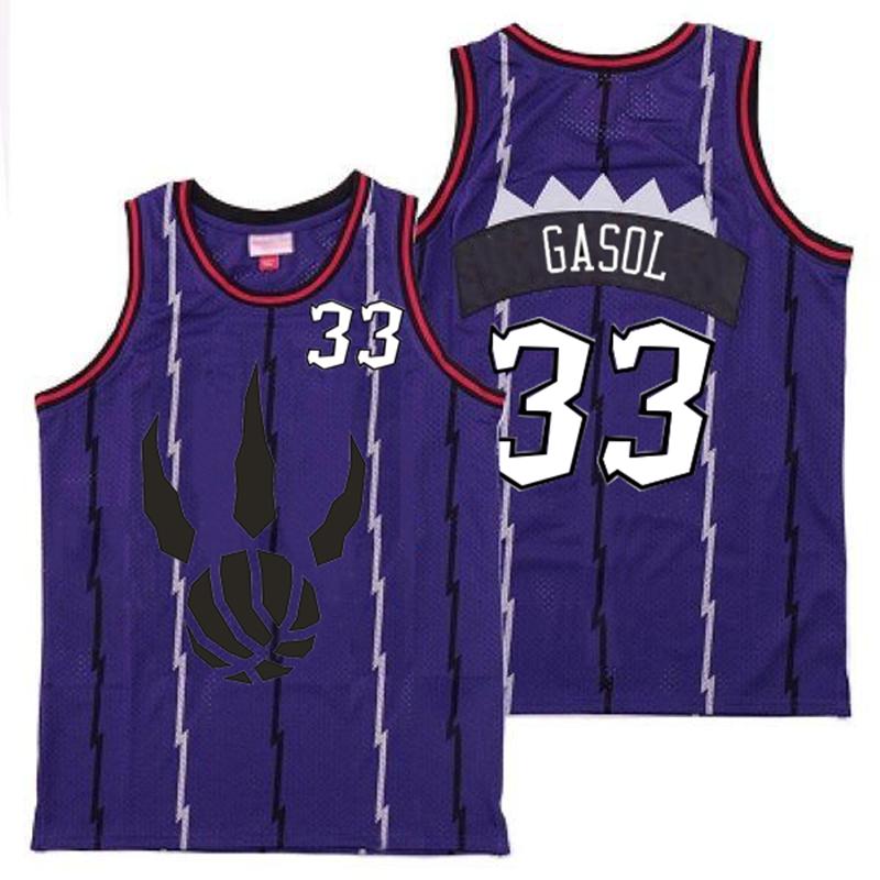 Raptors 33 Marc Gasol Purple Throwback Jersey