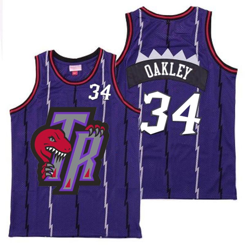 Raptors 34 Charles Oakley Purple Big Gray TR Logo Retro Jersey