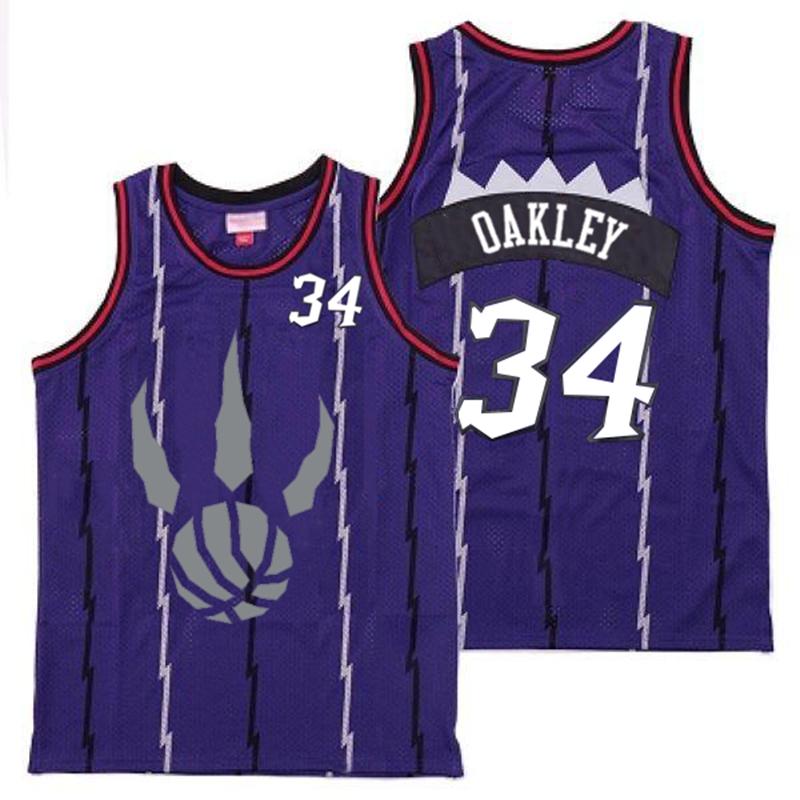 Raptors 34 Charles Oakley Purple Gray Logo Retro Jersey