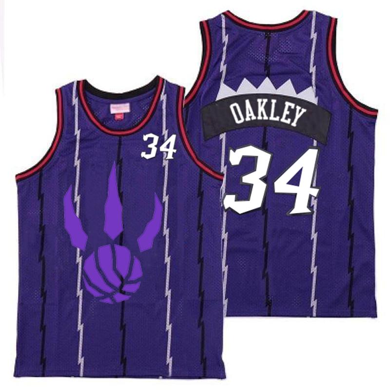 Raptors 34 Charles Oakley Purple Logo Retro Jersey